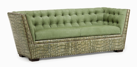 I'm green with envy! I could see this sofa in a loft or swanky boutique hotel. So much style & the beautiful shade of jade make this piece a showstopper!
