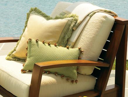 Spring green, butter yellow & neautral colors make for a calming serene poolside atmosphere.