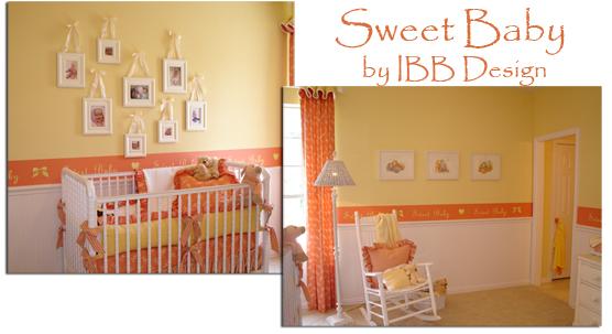 nursery design, nursery decor, white crib, orange nursery, baby room, baby decor
