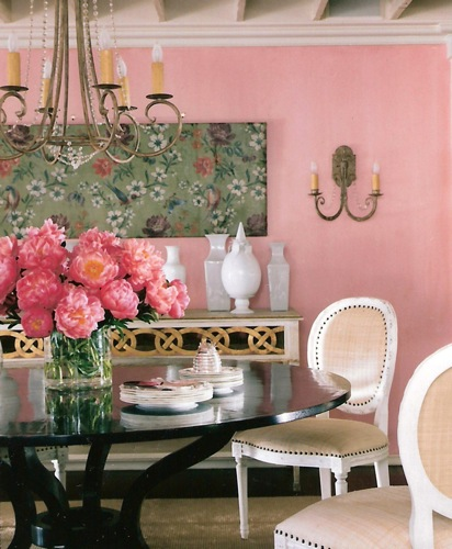 Suzanne Kasler, pink, Glidden paint, dining room, pink interiors