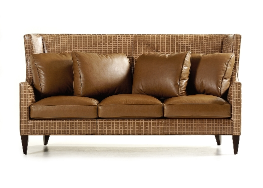 I love the straight lines & the tall back of this tone on tone leather sofa.