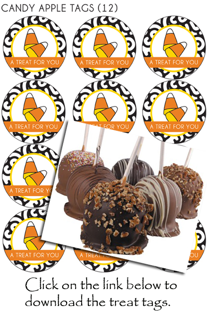 caramel apples, treat tags, Halloween treats, Halloween decor