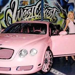 pink Bentley, Paris Hilton, pink car