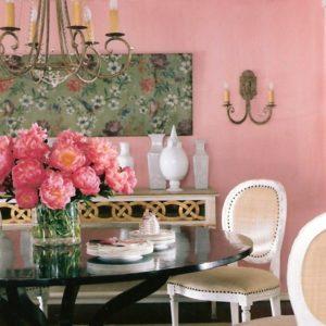 Suzanne Kasler, pink, Glidden paint, dining room, pink interiors