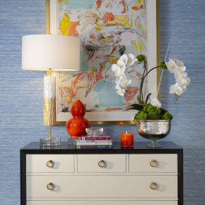IBB Design Fine Furnishings CIEL Wallcoverings with Audrey Double Luxe Permanent Botanical